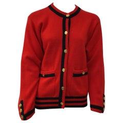 Chanel Red Cashmere Cardigan w/ Navy Trim-44