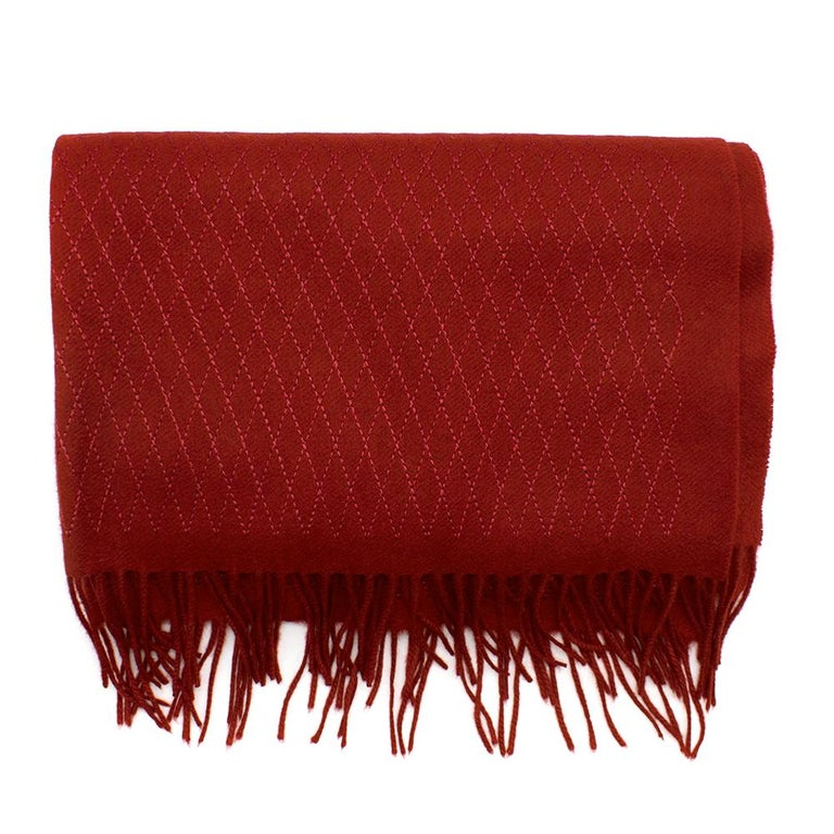 Chanel Red Cashmere Diamond Stitch Detail Scarf For Sale 1