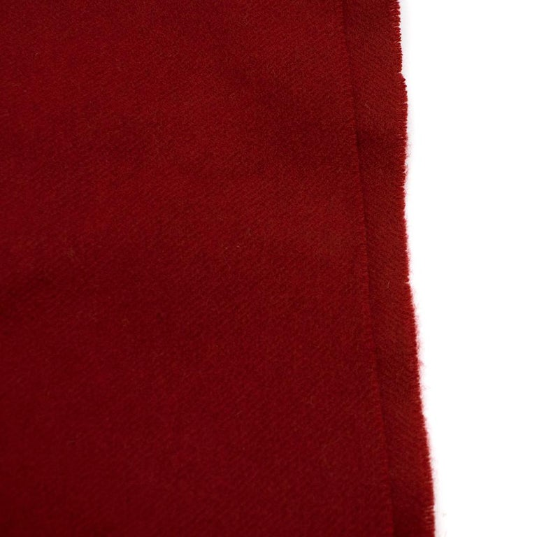 Chanel Red Cashmere Diamond Stitch Detail Scarf For Sale 2