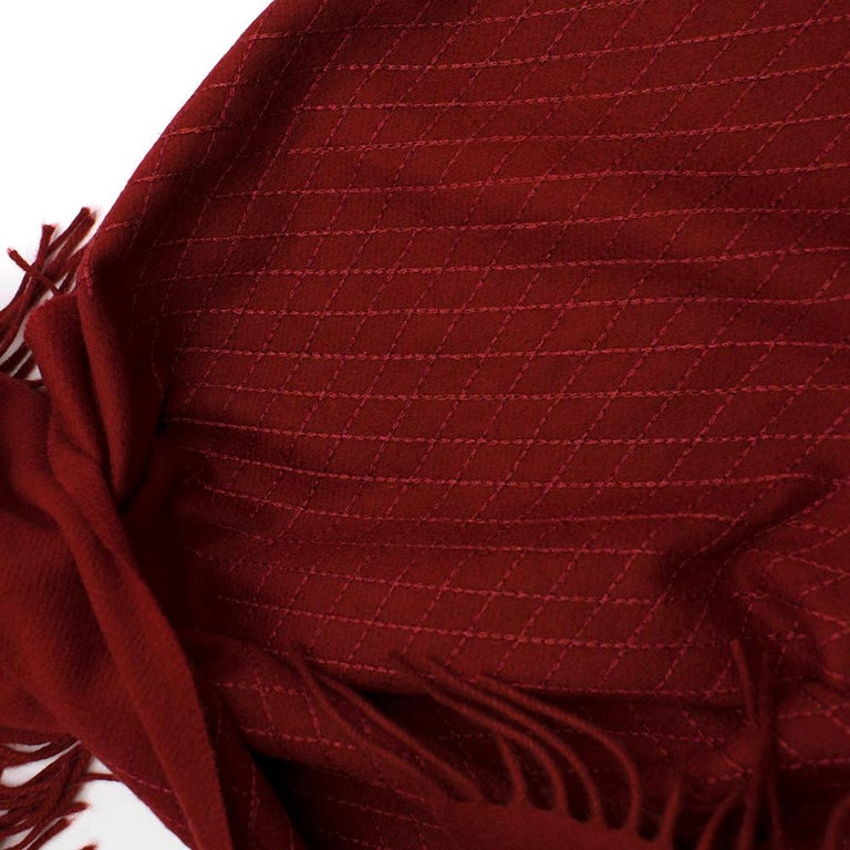 Chanel Red Cashmere Diamond Stitch Detail Scarf For Sale 3