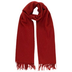 Chanel Red Cashmere Diamond Stitch Detail Scarf