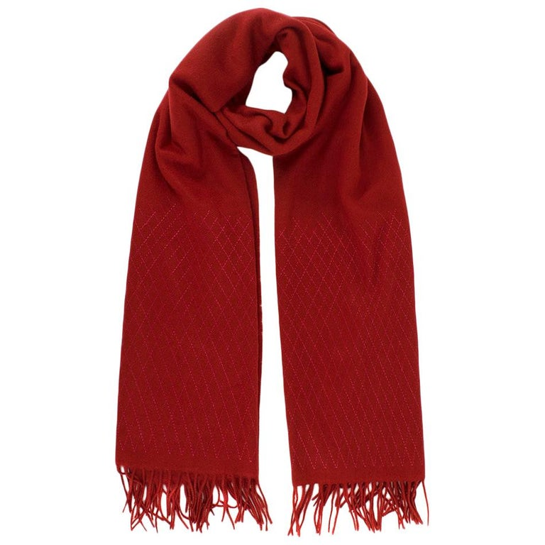 Chanel Red Cashmere Diamond Stitch Detail Scarf For Sale