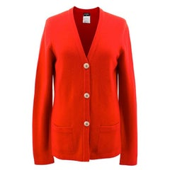 Chanel Red Cashmere Long Sleeved Cardigan