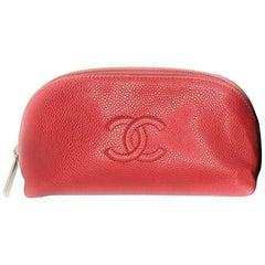 Chanel Red Caviar CC Dome Cosmetic Case
