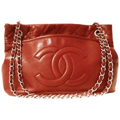 Chanel Red Caviar Leather CC Tote