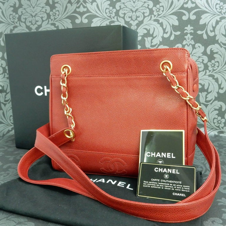 """Chanel Red Caviar Leather """"CC"""" Tote Shoulder Bag For Sale 6"""