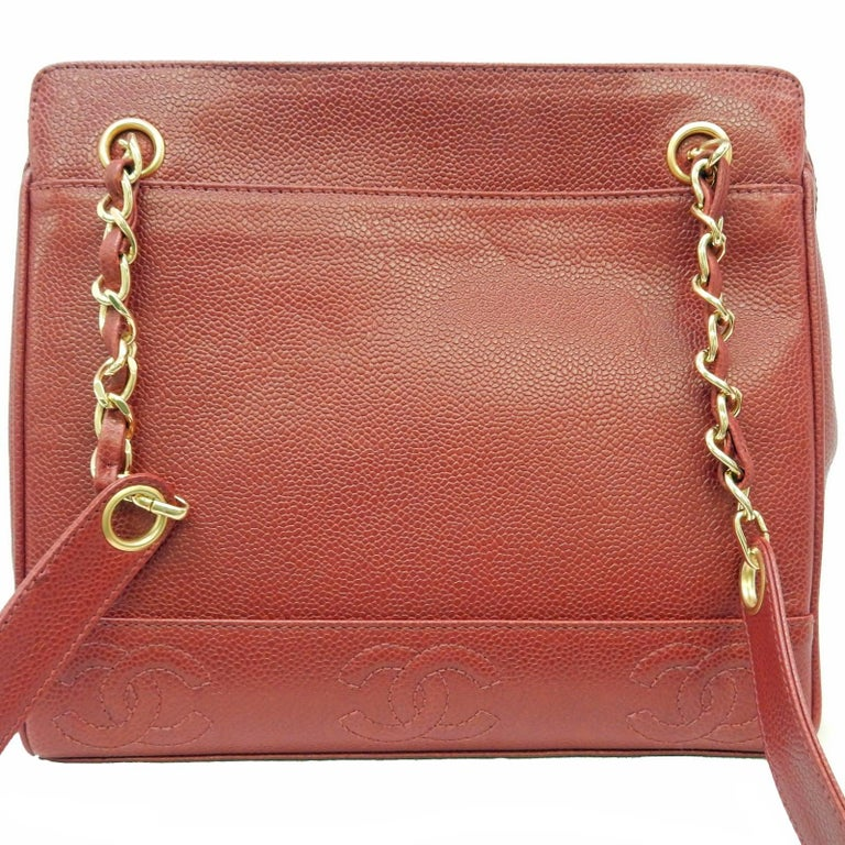 """Women's Chanel Red Caviar Leather """"CC"""" Tote Shoulder Bag For Sale"""