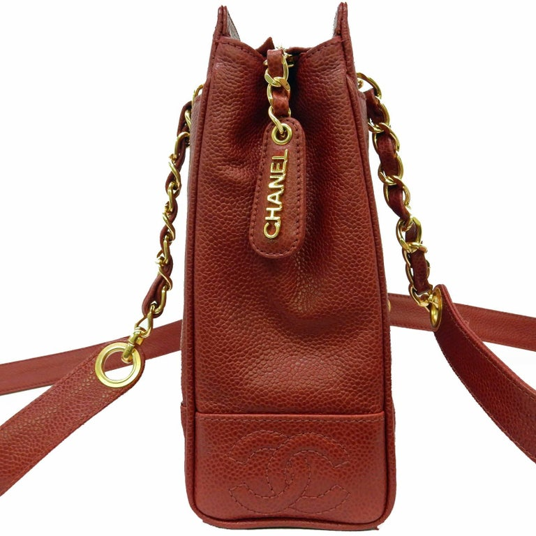 """Chanel Red Caviar Leather """"CC"""" Tote Shoulder Bag For Sale 1"""