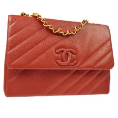 Chanel Red Caviar Leather Gold Evening Jumbo Large Shoulder Flap Bag