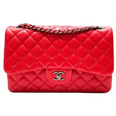 Chanel Red Caviar Leather Jumbo Classic Double Flap Bag, 2015
