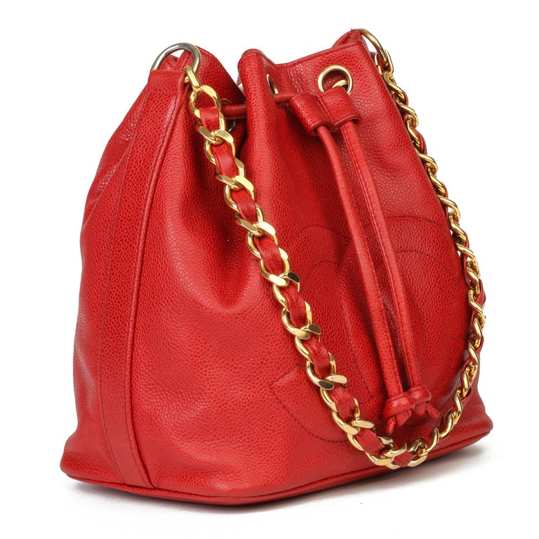 CHANEL Red Caviar Leather Vintage Timeless Bucket Bag with Pouch  Xupes Reference: HB3935 Serial Number: 1966174 Age (Circa): 1990 Accompanied By: Authenticity Card, Interior Pouch Authenticity Details: Authenticity Card, Serial Sticker (Made in
