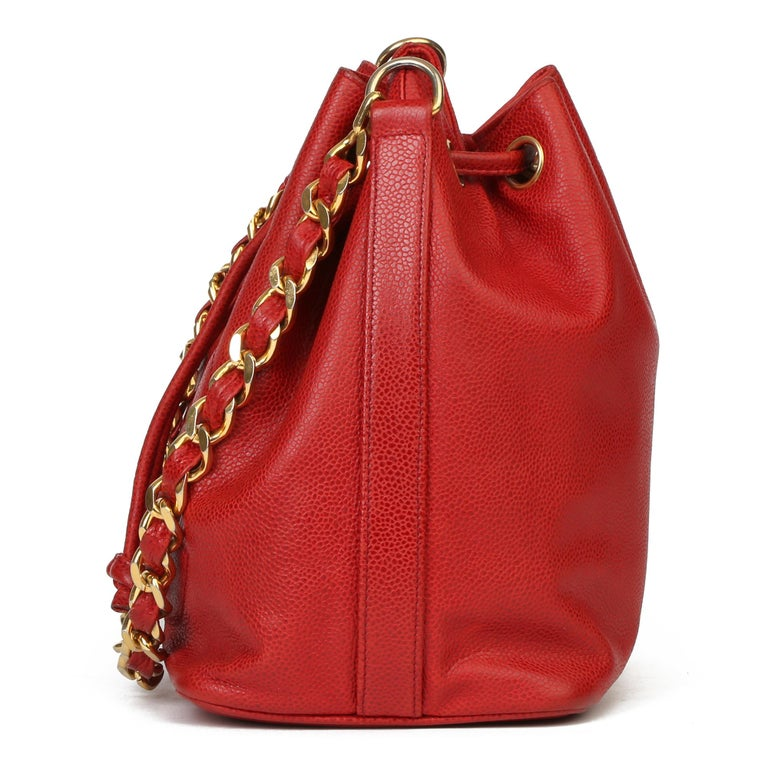 Women's Chanel Red Caviar Leather Vintage Timeless Bucket Bag with Pouch For Sale