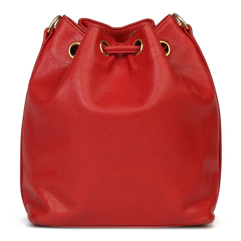 Chanel Red Caviar Leather Vintage Timeless Bucket Bag with Pouch For Sale 1
