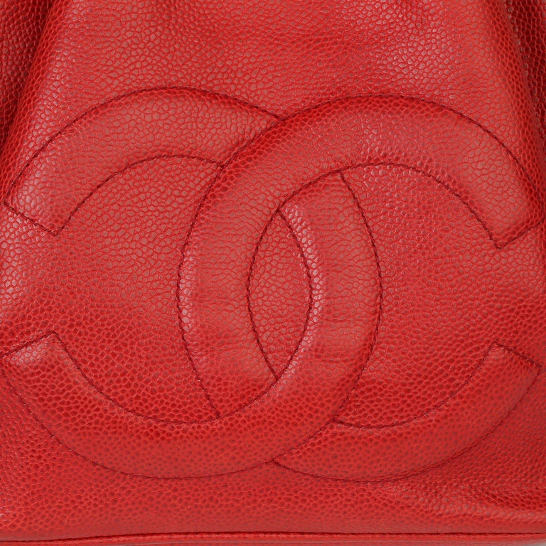 Chanel Red Caviar Leather Vintage Timeless Bucket Bag with Pouch For Sale 3