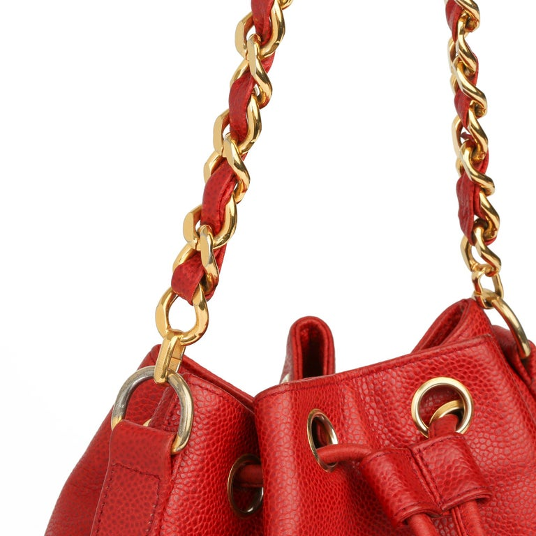 Chanel Red Caviar Leather Vintage Timeless Bucket Bag with Pouch For Sale 4