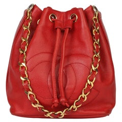 Chanel Red Caviar Leather Vintage Timeless Bucket Bag with Pouch