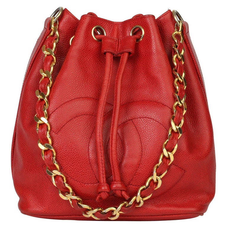 Chanel Red Caviar Leather Vintage Timeless Bucket Bag with Pouch For Sale