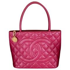 Chanel Red Caviar Medallion Shopper Handle Bag
