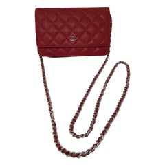 Chanel Red Caviar Wallet On A Chain Bag