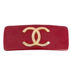 Chanel Red CC Logo Hair Barette
