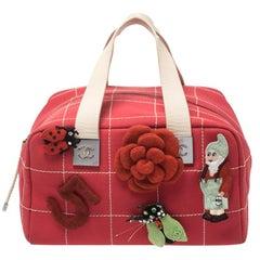 Chanel Red Chocolate Bar Canvas No. 5 Medium Boston Bag