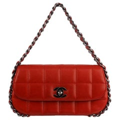 Chanel Red Chocolate Bar Quilted Leather Small Bag