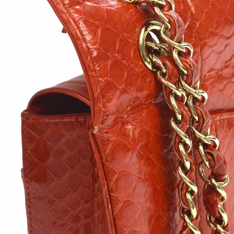 Chanel Red Crocodile Exotic Leather Gold Evening Double Shoulder Flap Bag  Crocodile  Leather  Gold tone hardware  Leather lining Turnlock closure Date code present Made in France Shoulder strap drop 15.5