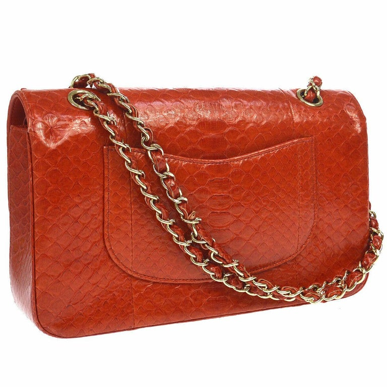 Chanel Red Crocodile Exotic Leather Gold Evening Double Shoulder Flap Bag In Good Condition For Sale In Chicago, IL