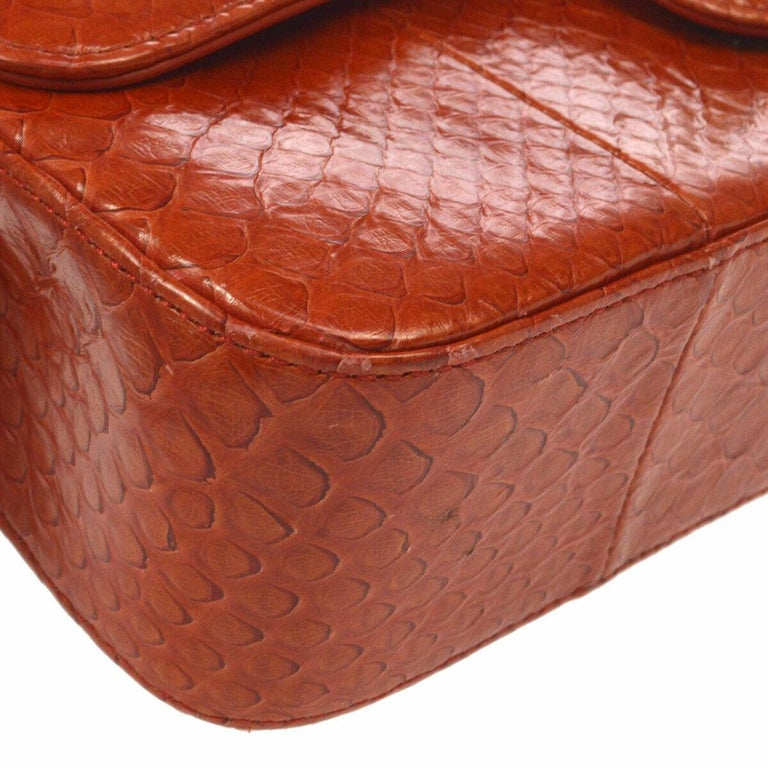 Chanel Red Crocodile Exotic Leather Gold Evening Double Shoulder Flap Bag For Sale 1