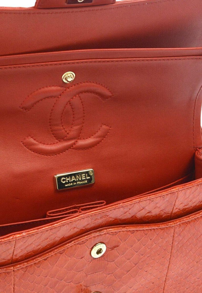 Chanel Red Crocodile Exotic Leather Gold Evening Double Shoulder Flap Bag For Sale 3