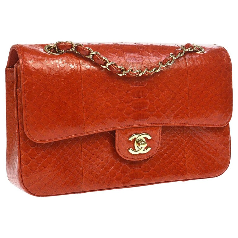 Chanel Red Crocodile Exotic Leather Gold Evening Double Shoulder Flap Bag For Sale