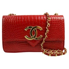 Chanel Red Crocodile Exotic Leather Gold Logo Small Evening Flap Shoulder Bag