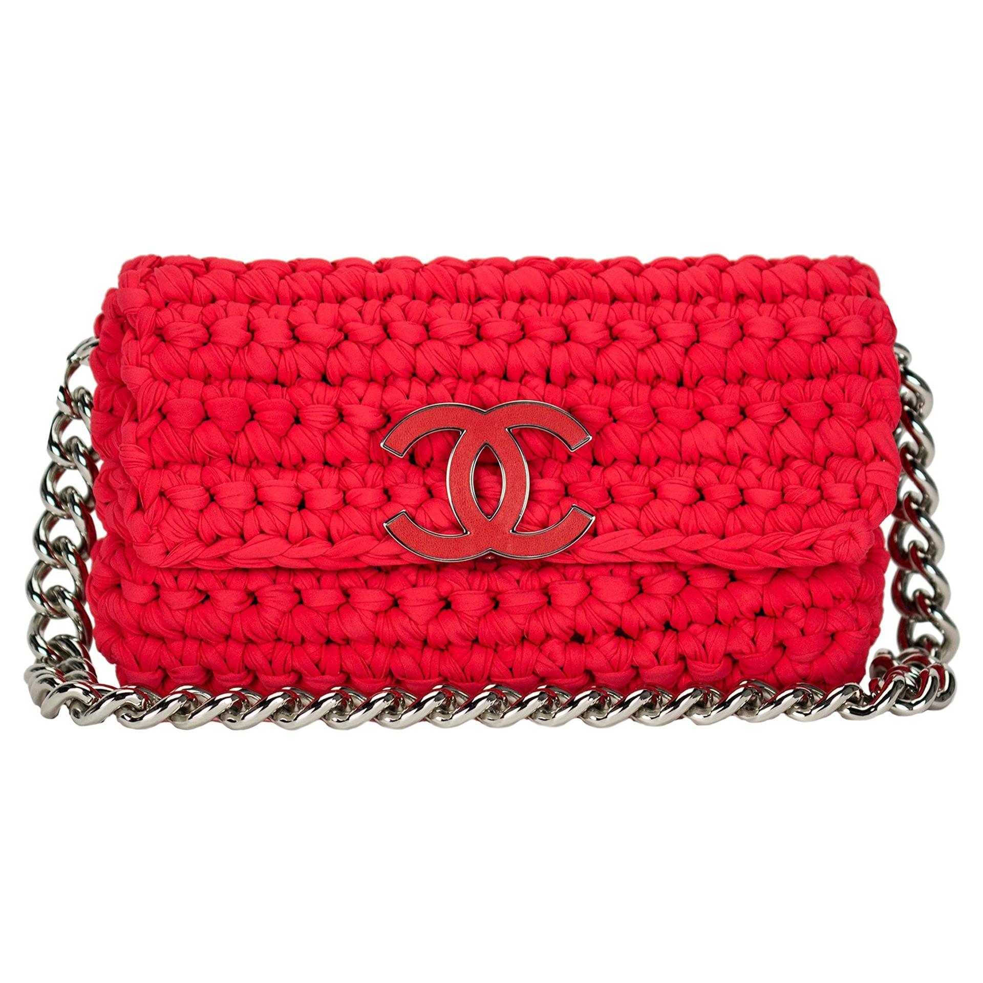 Chanel Red Cruise Crochet Logo Flap Bag