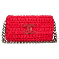 Chanel Red Cruise Crochet Logo Flap Bag