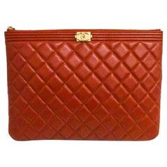 Chanel Red Diamond O  Case Boy Pouch Clutch Bag