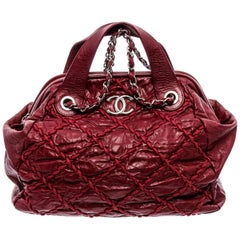 Chanel Red Distressed Leather Ultra Stitch Bowler Bag