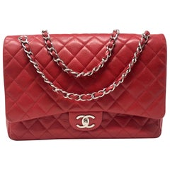 Chanel Red Double Flap Maxi SHW Bag