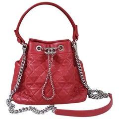 Chanel Red Drawstring Bucket Bag Shoulder Handbag Quilted