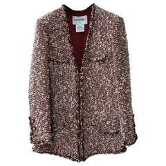Chanel Red Ecru Wool Blend Tweed Paris-Dallas Jacket