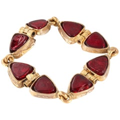 Chanel Red Gripoix and Gold Vintage Bracelet