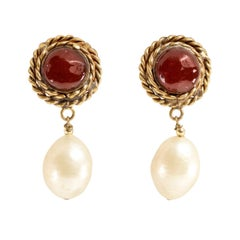 Chanel Red Gripoix and Pearl Clip On Earrings