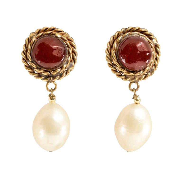 Chanel Red Gripoix and Pearl Clip On Earrings For Sale