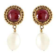 Chanel Red Gripoix and Pearl Drop Vintage Earrings