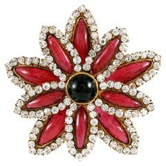 Chanel Red Gripoix and Rhinestone Flower Vintage Pendant