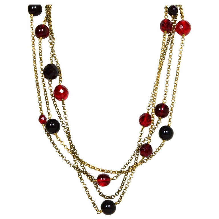 "Chanel Red Gripoix & Crystal 92"" Goldtone Necklace For Sale"