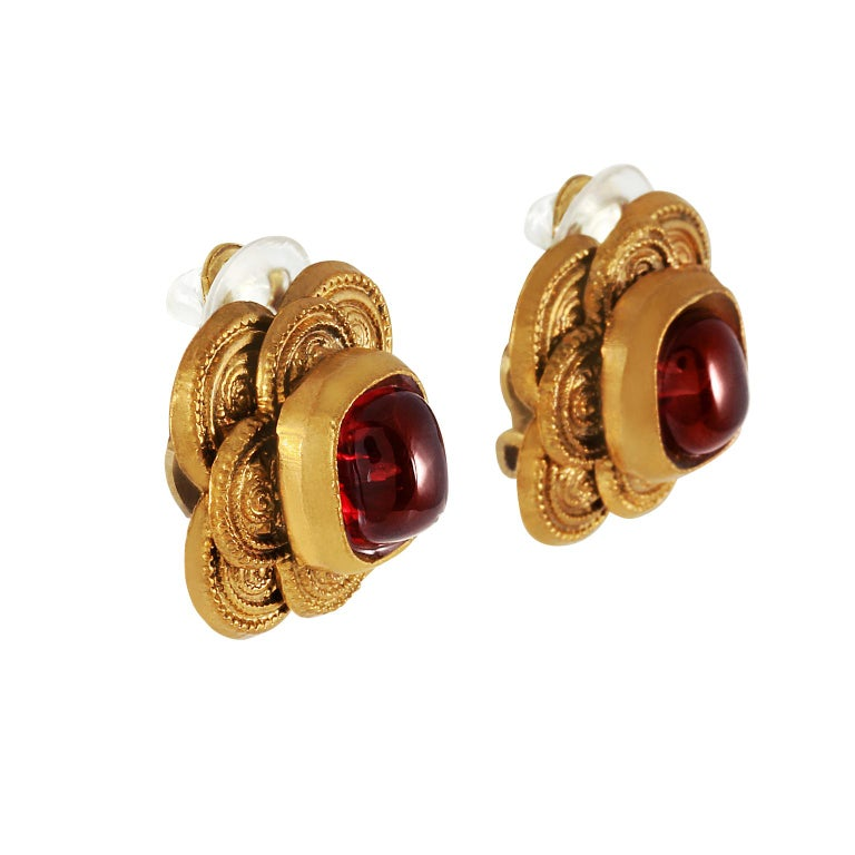Chanel Red Gripoix Earrings In Excellent Condition For Sale In Palm Beach, FL