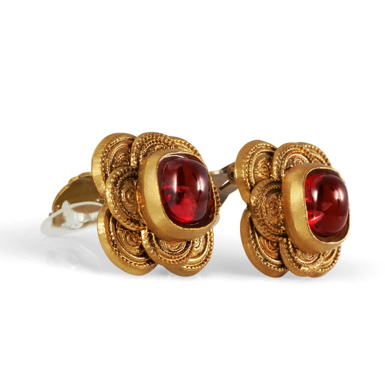 Chanel Red Gripoix Earrings For Sale 1
