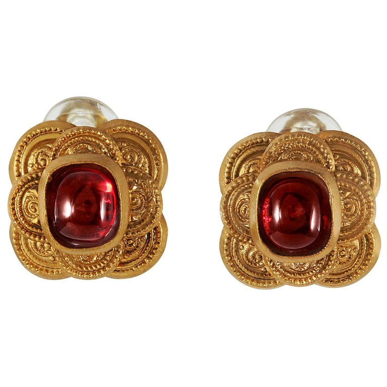 Chanel Red Gripoix Earrings For Sale