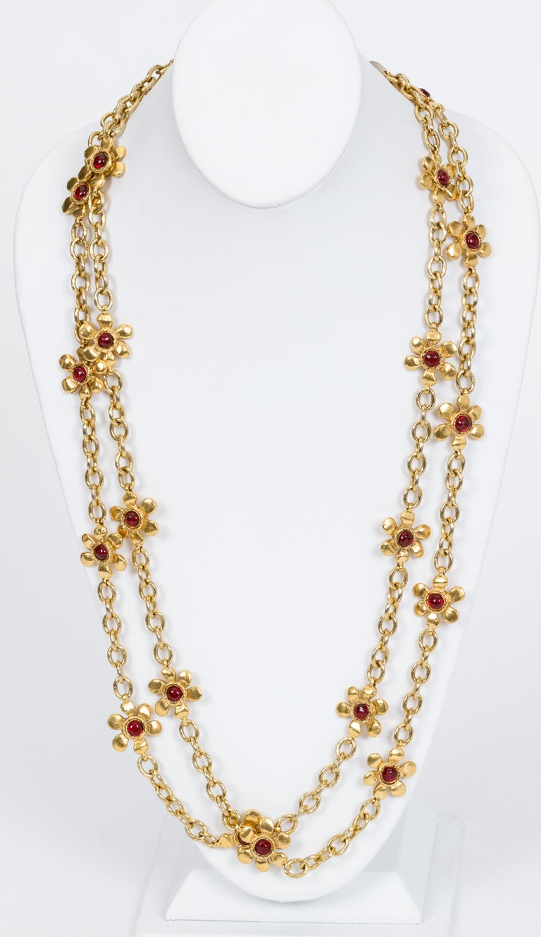 Chanel Red Gripoix Flower Necklace At 1stdibs