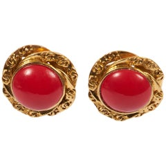 Chanel Red Gripoix Gold Clip Earrings